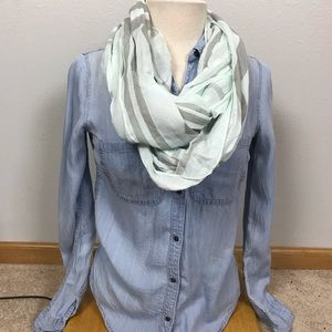 Light blue and gray striped infinity scarf
